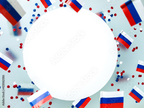 Russia Independence Day and National Flag . state holiday sovereignty. concept freedom, patriotism and memory. Symbol Olympic team.