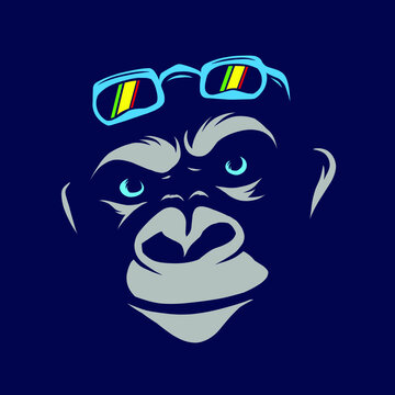 Funny funky monkey Line Pop Art logo. Colorful design with dark background. Abstract vector illustration. Isolated black background for t-shirt, poster, clothing, merch, apparel, badge design