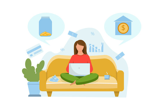 The girl is sitting on the couch and thinking about where to invest the money. Invest in a bank or store money in a glass jar. Vector flat illustration