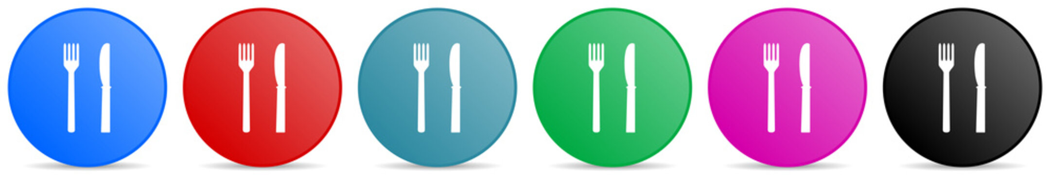 Eat vector icons, set of circle gradient buttons in 6 colors options for webdesign and mobile applications