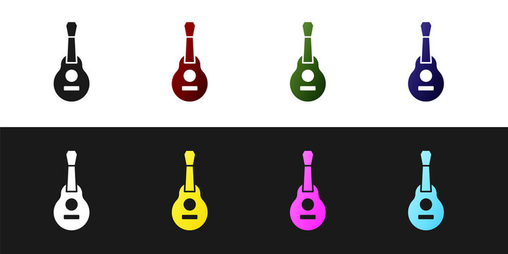 Set Mexican guitar icon isolated on black and white background. Acoustic guitar. String musical instrument. Vector