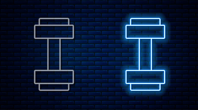 Glowing neon line Dumbbell icon isolated on brick wall background. Muscle lifting icon, fitness barbell, gym, sports equipment, exercise bumbbell. Vector