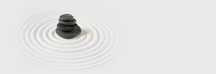 Fototapeta Zen japanese garden and black stones background. Horizontal banner obraz