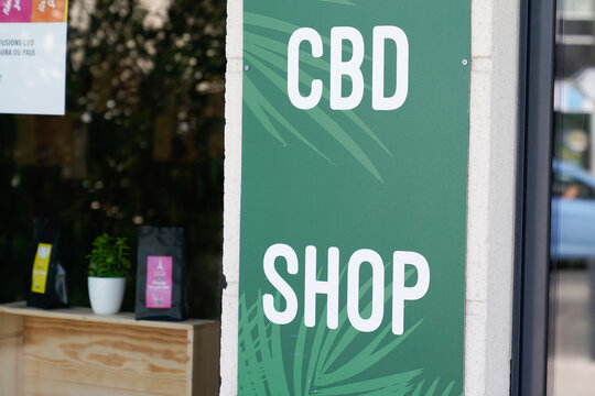 cbd shop logo and text sign of store marijuana Cannabidiol products in the city