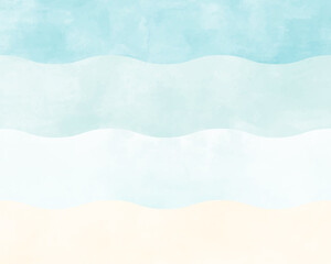 Fototapeta 海や波の水彩風の背景イラスト ビーチ 海岸 砂浜 青 水色 夏 素材 グラデーション