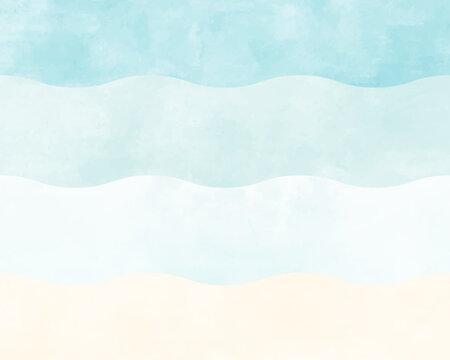 海や波の水彩風の背景イラスト ビーチ 海岸 砂浜 青 水色 夏 素材 グラデーション