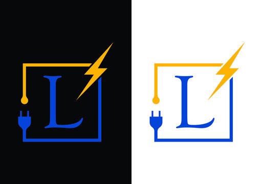 L Electrical Logo template Lighting bolt sign symbol