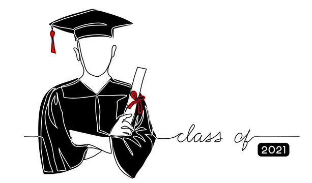 Graduating student with cap, black gown, holding diploma simple vector background, poster, banner. One continuous line drawing illustration with text Class of 2021
