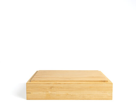Rectangular wooden pedestal isolated on white background. wite clipping paths. Horizontal template for mockup, banner.