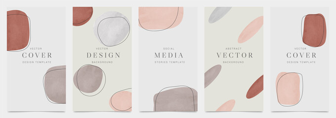Fototapeta Minimal cover vector design collection. Organic shape abstract arts style background. social media and mobile wallpaper. vector illustration.