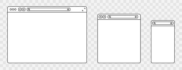 Fototapeta Line browser mockups different devices web window mobile, laptop and tablet screen in internet. Outline browser window. Web browser template. Vector illustration.