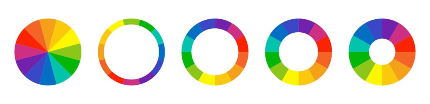 Color wheel guide. Floral patterns and palette isolated. RGB and CMYK colors. Pie charts diagrams. Set of different color circles. Infographic element round shape. Vector illustration.