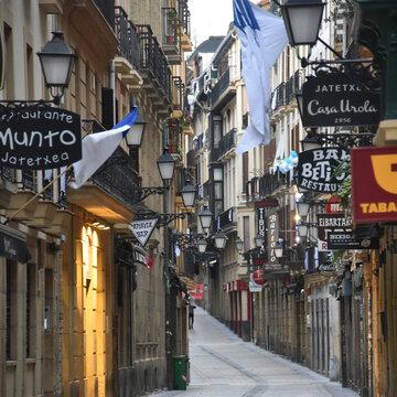 San Sebastian, Spain - Jan 10, 2021: the narrow streets and Pintxo bars of Parte Vieja in the early morning