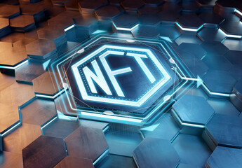 NFT nonfungible tokens concept on hexagonal background. NFT Logo on abstract digital surface. 3d rendering