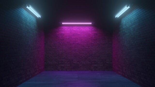 Abstrakter Grunge Hintergrund mit Wand und Neon Licht