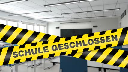 Schule geschlossen Absperrband vor leerem Klassenraum