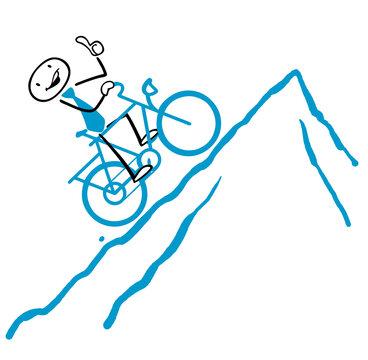 Erfolg Konzept mit Radfahrer beim Aufstieg zum Gipfel