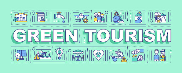 Green tourism word concepts banner. Activity focused on participating in rural lifestyle. Infographics with linear icons on mint background. Isolated typography. Vector outline RGB color illustration