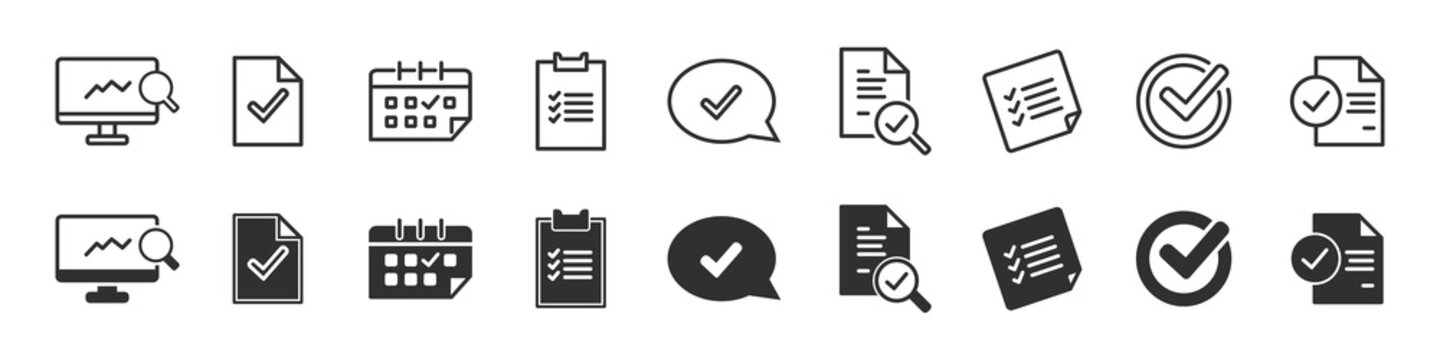 Check and audit icons collection in two different styles