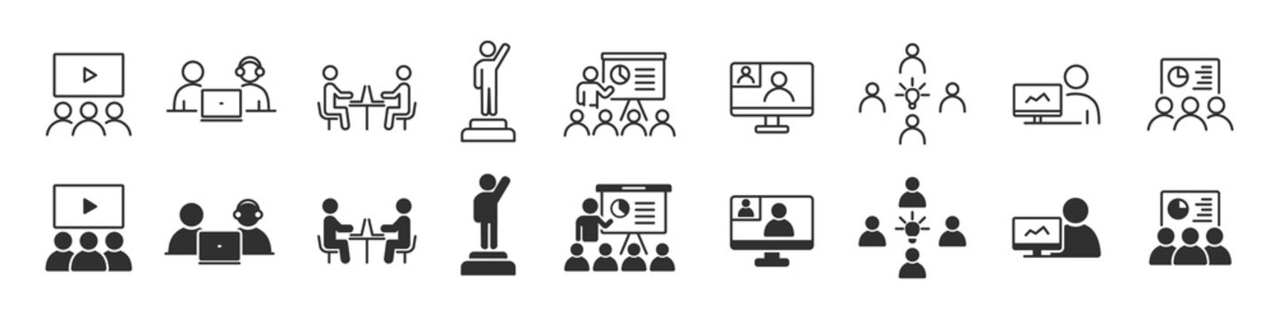 Business training and workshop icons collection in two different styles