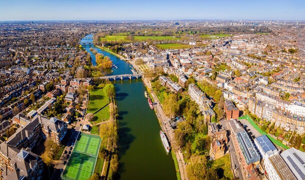 The aerial view of Richmond bridge and suburbs of London in spring