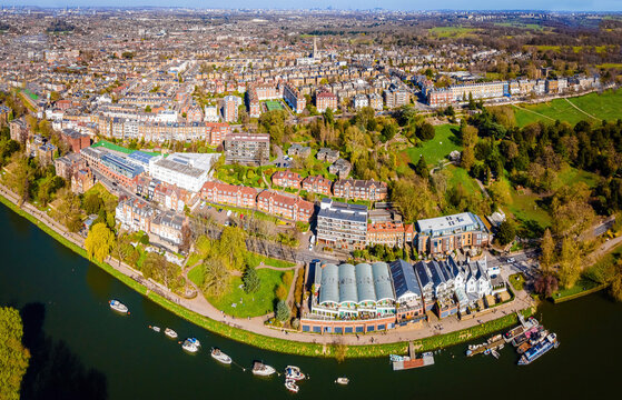 The aerial view of the river Thames near the Richmond bridge in London in spring