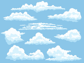 Fototapeta Cartoon clouds. White cloud on blue sky isolated vector illustration set
