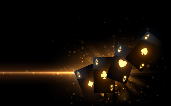 Black playing cards with gold light effect