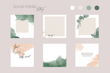 Fototapeta abstract Instagram social media story post feed background layout, web banner template. pink nude green watercolor vector texture frame mockup. for beauty, jewelry, fashion, cosmetics, wedding, summer