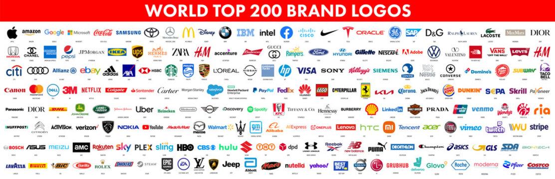 200 Top and most popular World brands. Logo Apple, Google, Amazon, Microsoft, Coca-cola, Samsung, Toyota, Mercedes, MacDonalds, Disney, BMW, IBM, Intel and more. Vector illustration
