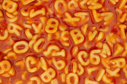 Pasta alphabet soup background