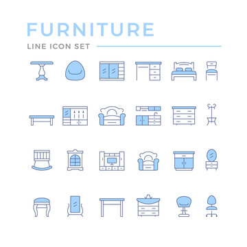 Set color line icons of furniture