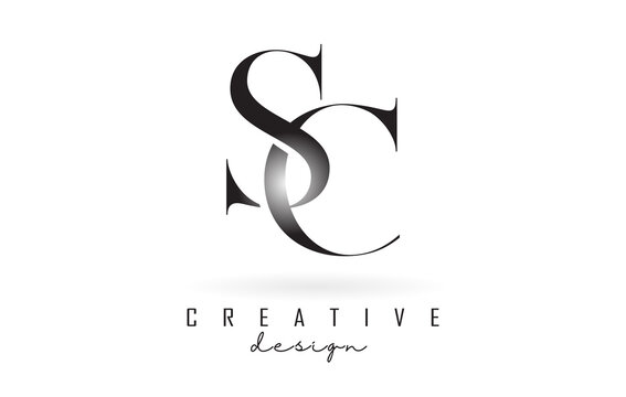 SC s c letter design logo logotype concept with serif font and elegant style vector illustration.