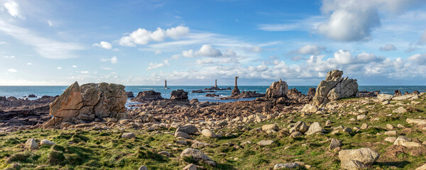 French coast lighthouses, The Phare de Nividic lighthouse on Ouessant in Brittany, France