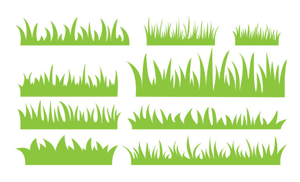 Green grass icons flat set. of different lengths and widths isolated on a white background. Green earth concept for design or template