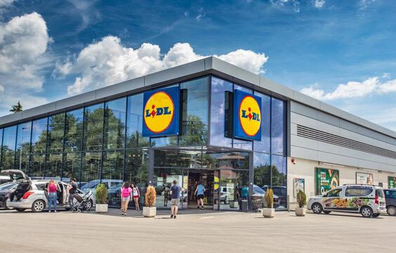 LIDL supermarket in Bulgaria. Lidl is a German global discount supermarket chain.