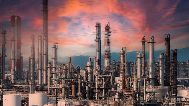 Oil and gas petrochemical industrial. Oil refinery petrochemical plant factory from Osaka chemical industry zone of Japan. Many oil storage tank and pipeline steel. Ecosystem healthy environment.