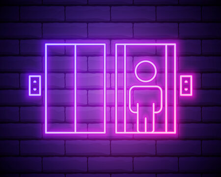 elevator icon. Elements of hotel in neon style icons. Simple icon for websites, web design, mobile app, info graphics isolated on brick wall