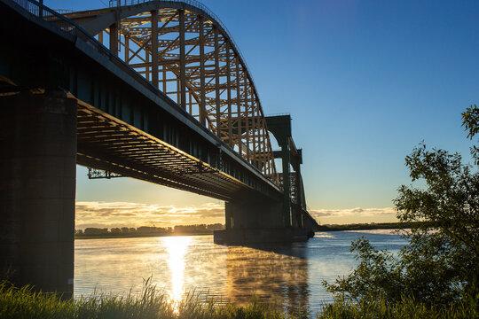 Large beautiful road bridge at dawn