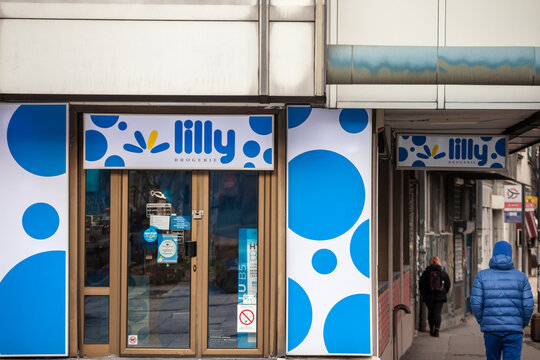 BELGRADE, SERBIA - FEBRUARY 14, 2021: Lilly Drogerie logo on a shop in Belgrade. Lilly is a serbian chain of retail stores and pharmacy that sells cosmetics, healthcare items, household products