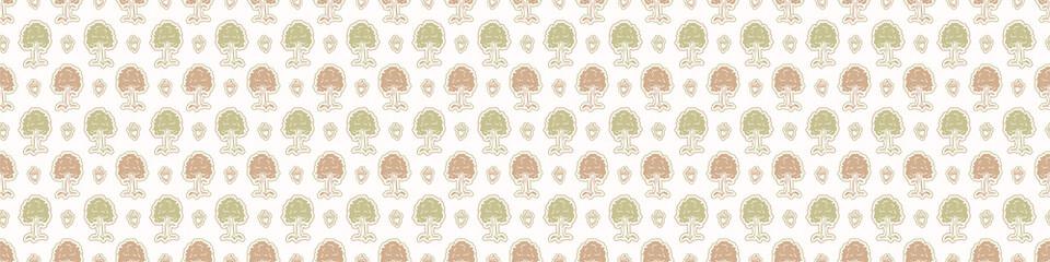 Fototapeta Seamless minimalist blockprint tree border pattern. Calm tonal pastel color edge trim. Simple modern scandi unisex kid design. Organic light gender neutral baby newborn nursery print banner.