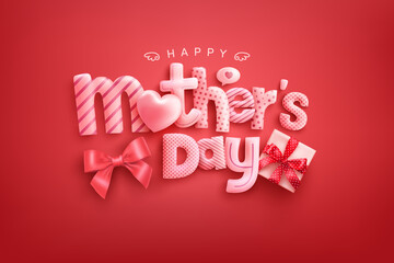 Fototapeta Happy Mother's Day Poster or banner with cute font,sweet hearts and gift box on red background.Promotion and shopping template or background for Love and Mother's day concept