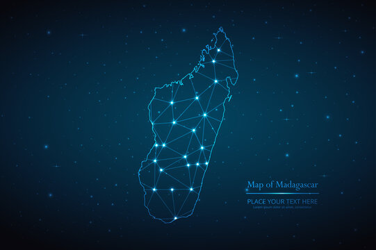 Abstract map of Madagascar geometric mesh polygonal network line, structure and point scales on dark background. Vector illustration eps 10