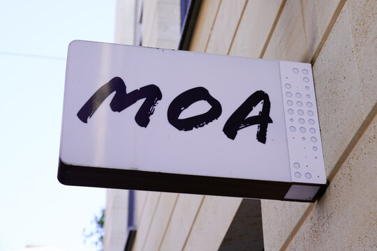 Moa brand text and logo sign on store French jewelry shop in France