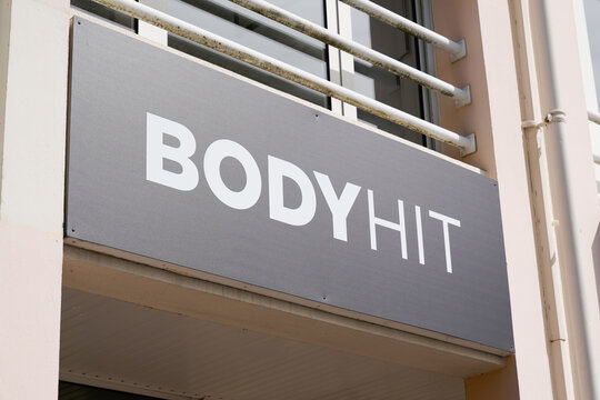 Bodyhit logo brand and text sign front of sport agency for electro stimulation package sculpt body