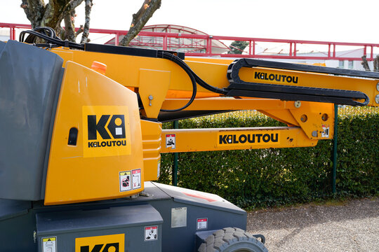 kiloutou logo sign and brand text on industrial modern rental utility vehicle in construction site
