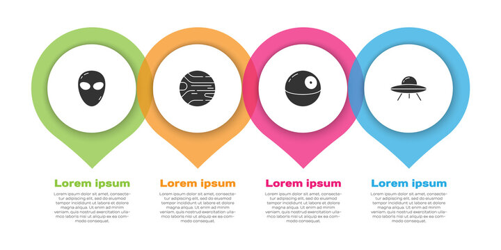 Set Alien, Planet, Death star and UFO flying spaceship. Business infographic template. Vector