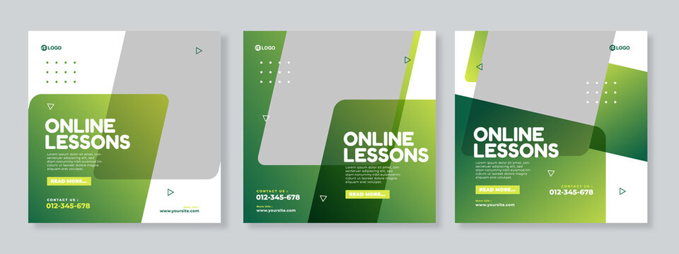 Online lessons courses social media post template design vector