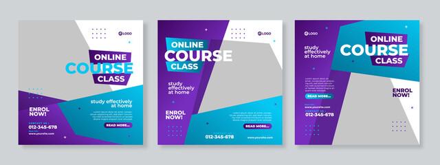 Fototapeta Online course class social media post template design vector