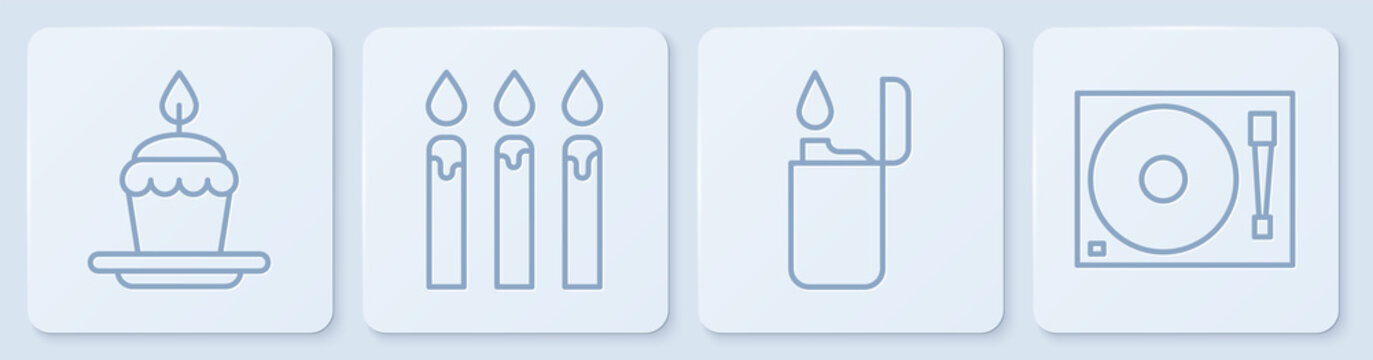 Set line Cake with burning candles, Lighter, Birthday cake candles and Vinyl player with a vinyl disk. White square button. Vector